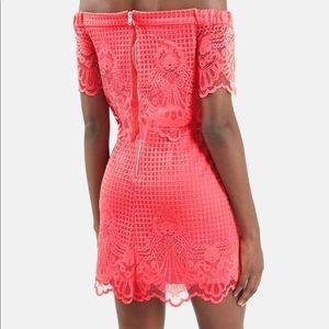 c407a68b80ba Topshop Dresses - Topshop coral lace off the shoulder dress